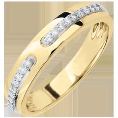 Fede Promessa - modello grande - Oro giallo - 9 carati - Diamanti