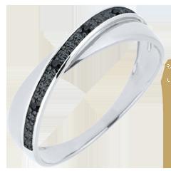 Fede Saturno Duetto - Oro bianco - 18 carati - Diamanti - Diamanti neri