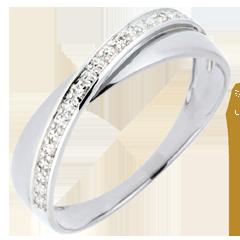 Fede Saturno Duetto - Oro bianco - 18 carati - Diamanti
