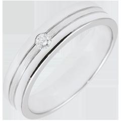 Fede Star Diamante - modello piccolo- Oro bianco spazzolato - 9 carati