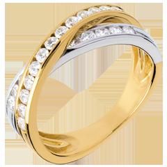 Fede Tandem pavé - Oro bianco e Oro giallo - 18 carati - 23 diamanti