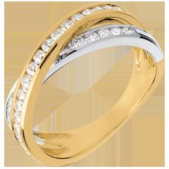 Fede Tandem pavé - Oro bianco e Oro giallo - 18 carati - 29 Diamanti - 0.52 carati