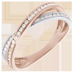 Fede Tandem pavé - Oro rosa e Oro bianco - 18 carati - 43 Diamanti - 0.23 carati