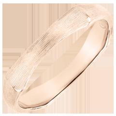 Fede uomo Giungla Sacra - 4 mm - oro rosa spazzolato 18 carati