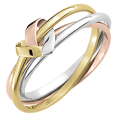 Folding Heart 3 Rings - 3 golds