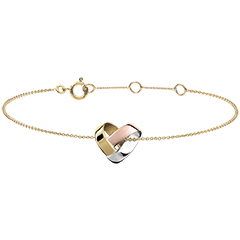 Folding Heart Bracelet - 3 golds