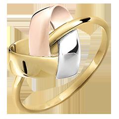 Folding Heart Ring - 3 golds