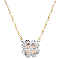 Freshness Necklace - Sparkling Clover - 3 golds and diamonds
