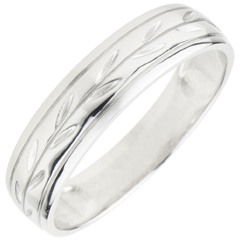 Freshness wedding ring - Palm variation engraved white gold - 9 carat