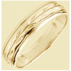 Freshness wedding ring - Palm variation engraved yellow gold - 18 carat