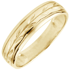 Freshness wedding ring - Palm variation engraved yellow gold - 9 carat