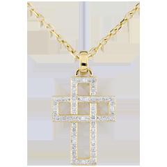 Geometryczna zawieszka Krzyżyk z diamentami - złoto żółte 9-karatowe