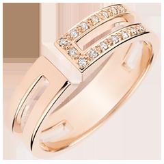 Gloria Ring - 15 diamonds - pink gold 18 carats