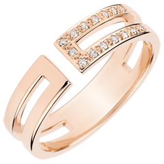 Gloria Ring - 15 diamonds - pink gold 9 carats