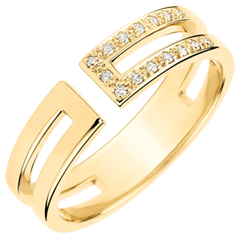 Gloria Ring - 15 diamonds - yellow gold 9 carats