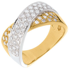 Goldring Ellipse mit 57 Diamanten - 0.8 Karat