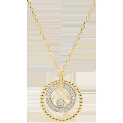 Gouden halsketting en diamanten - Gezouten Bloem - Cirkel - geel goud