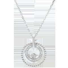 Gouden halsketting en diamanten - Gezouten Bloem- Cirkel - wit goud