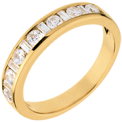 Half eternity ring yellow gold semi paved-channel setting - 0.57 carat - 13 diamonds