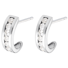 Half-moon earrings paved white gold - 0.41 carat - 12 diamonds
