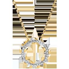 Halskette Kranz Verzauberter Garten - Königliches Blattwerk - Gelbgold und Diamanten - 9 Karat