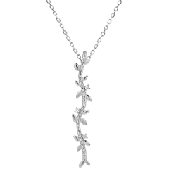 Halskette Stab Verzauberter Garten - Königliches Blattwerk - Weißgold und Diamanten - 9 Karat