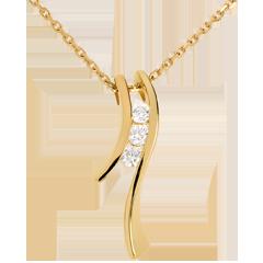 Halskette Trilogie Kostbarer Kokon - Silhouette- Gelbgold - 3 Diamanten - 18 karat