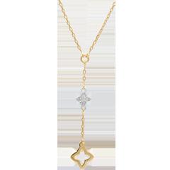 Halsketting Augusta - Twee goudsoorten en Diamant - 9 karaat geelgoud en witgoud