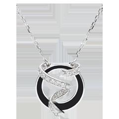 Halsketting Chiaroscuro - Sterrenlint - zwarte lak en Diamanten - 18 karaat witgoud