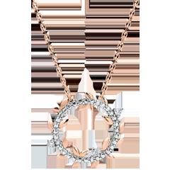 Halsketting Cirkel Magische Tuin - Gebladerde Royal - roze goud en diamanten - 18 karaat
