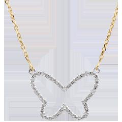 Halsketting Dagdromen - Vlinder Wolk - twee goudkleuren 9 karaat witgoud en geelgoud