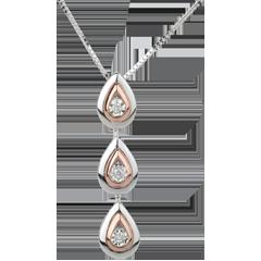Halsketting Dauwdruppel variatie - wit goud. roze goud - 18 karaat