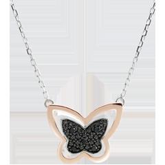 Halsketting Denkbeeldige Balade - Maanvlinder - roze goud en zwarte diamanten