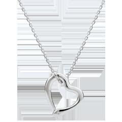 Halsketting Denkbeeldige Balade - Snake Liefde - klein model - wit goud en diamant - 9 karaat
