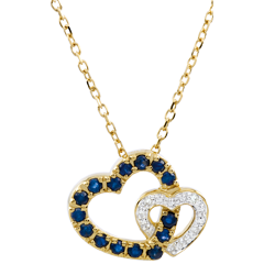 Halsketting Dubbele Harten - Saffier en Diamant