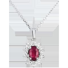 Halsketting Eeuwige Edelweiss - Marguerite Illusie - robijn en diamanten - wit goud 9 karaat