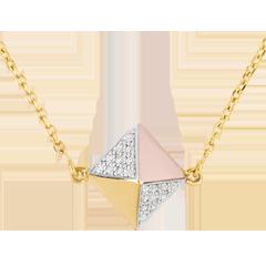 Halsketting Genesis - Ruwe Diamant - 3 goudkleuren - 9 karaat