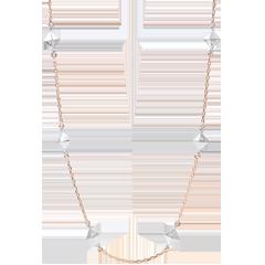 Halsketting Genesis - Ruwe Diamanten - 18 karaat witgoud en rozégoud