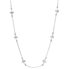 Halsketting Genesis - Ruwe Diamanten - wit goud - 9 karaat