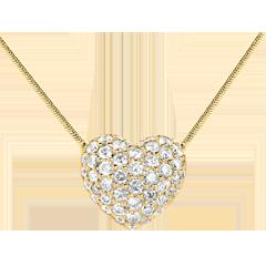 Halsketting Hart Geel Goud betegeld - 0.85 karaat -50 Diamanten