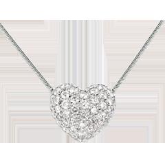 Halsketting Hart Wit Goud betegeld - 0.85 karaat -50 Diamanten