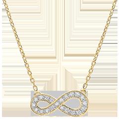 Halsketting Infinity - 9 karaat geelgoud met Diamanten