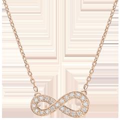 Halsketting Infinity - 9 karaat rozégoud met Diamanten