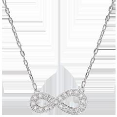Halsketting Infinity - wit goud en diamanten - 9 karaat
