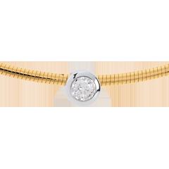 Halsketting Kabel Geel Goud stud Diamant