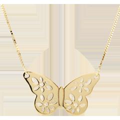 Halsketting Kant Vlinder - Geel Goud