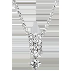 Halsketting Lotsbestemming - Medici - diamant en witgoud 9 karaat