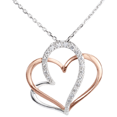 Halsketting My Love - wit goud. roze goud en diamant