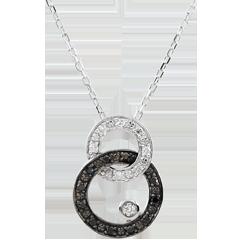 Halsketting Obscuur Licht - Maan Duo - wit goud - zwarte en witte diamanten