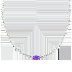 Halsketting Oriëntale Uitstraling - groot model - amethist en Diamanten - 9 karaat witgoud